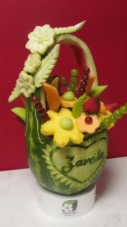 Love it! Hand Carved Personalized Fruit Arrangement. $75.00, via Etsy.