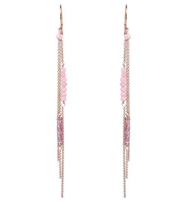 Mounir 14ct rose gold filled long fish hook earrings with Pink Agate and Garnet Zircon faceted beads. Retailing at £72. http://www.mounir.co.uk/index.php?route=product/product&path=60_113&product_id=1977&limit=100 #longearrings #dropearrings #mounir #jewellery #pinkagate #garnetzircon #earrings #rosegold #goldfilled #14ct