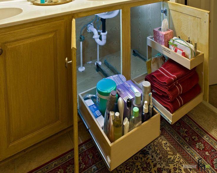 Идеи организации мест для хранения в ванных комнатах: полки, ниши, ящики, вешалки, мебель