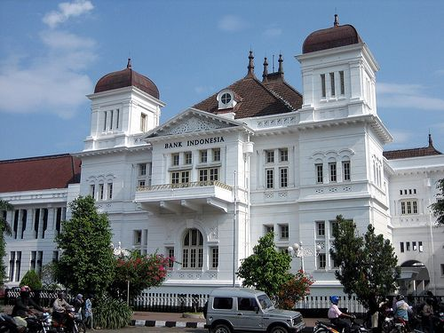 Grand Dutch Colonial Architecture, Downtown Yogyakarta, Java, Indonesia.Close to the Kraton were some beautiful examples of Dutch colonial style architecture. I had some free time and I requested my tour guide to show me some grand Dutch style buildings and the main market.