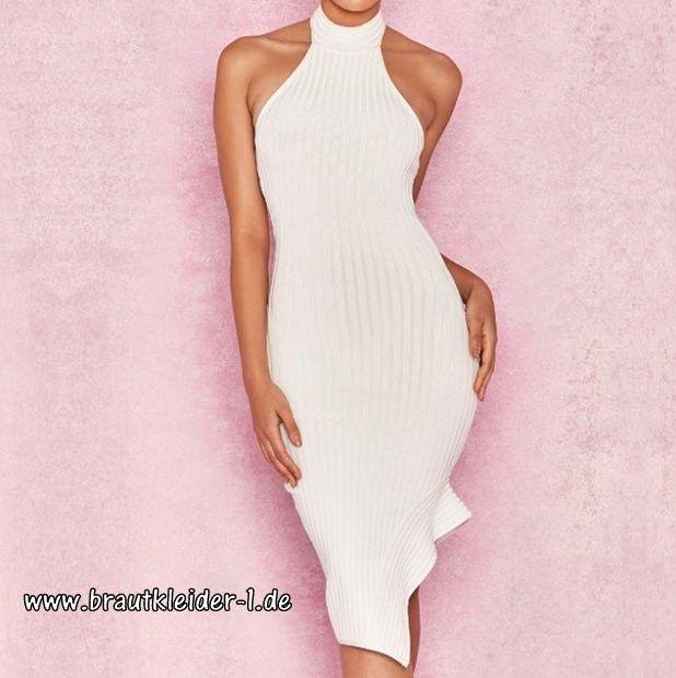 erster Blick verschiedene Stile Dauerhafter Service Neckholder Kleid für den Standesamt in Weiß Ärmellos im ...