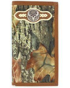Nocona Mossy Oak Camo Deer Skull Concho Rodeo Wallet, Mossy Oak