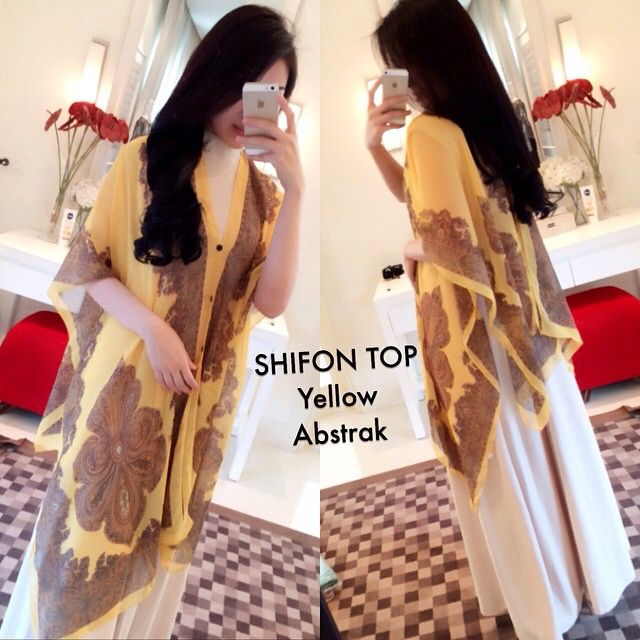 Shifon top yellow ready stock