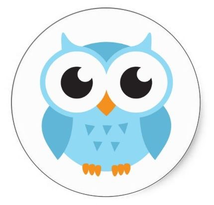 Cute blue cartoon baby owl stickers or envelope seals