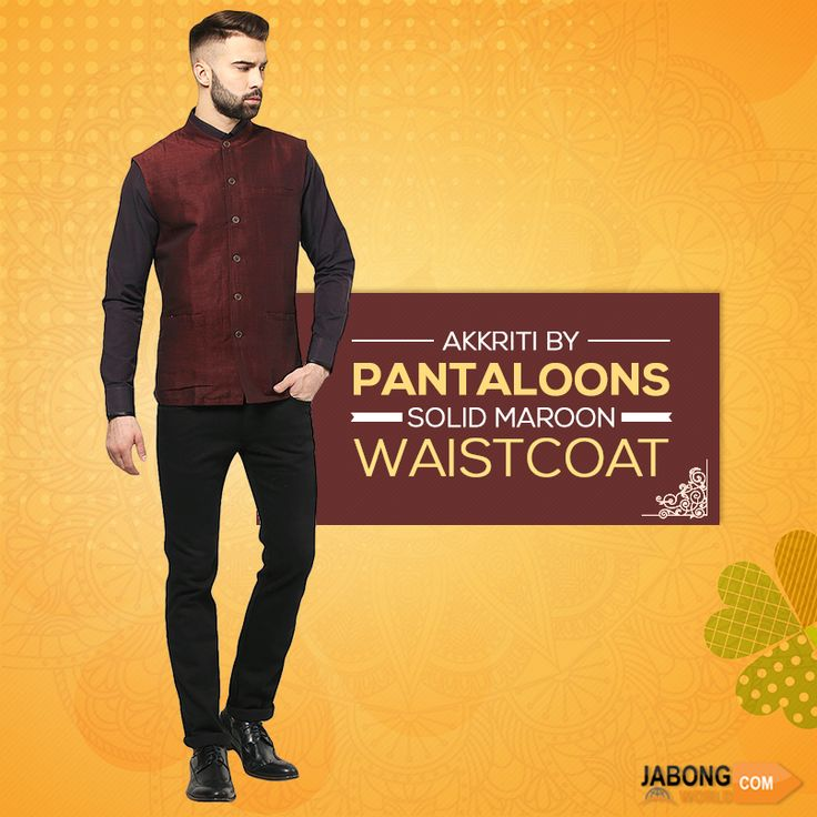 Pantaloons now at #Jabongworld!! Suave yourself up a notch by sporting a dapper look in this #sleeveless #Waistcoat! Check the price here- https://www.jabongworld.com/catalogsearch/result/?cat=236&q=pantaloons?utm_source=ViralCurryOrganic&utm_medium=Pinterest&utm_campaign=PantaloonsMens-28-june2015