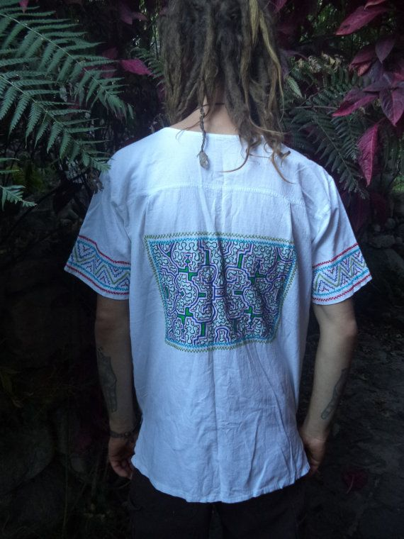 LARGE WHITE Shipibo Mens white Ceremonial Top by Shakruna on Etsy