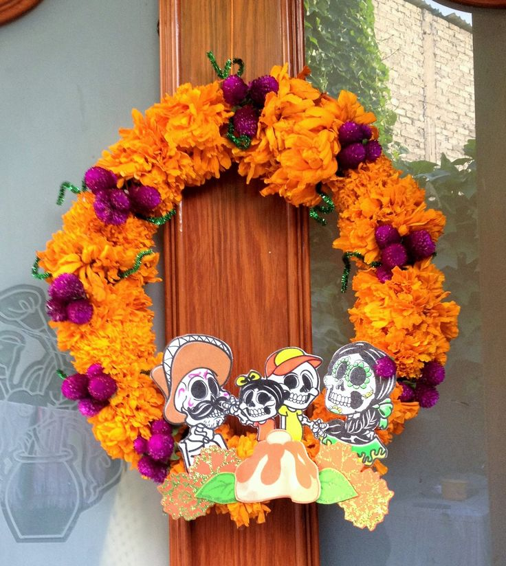 DIY Corona de flores naturales cempasúchil Dia de Muertos Halloween
