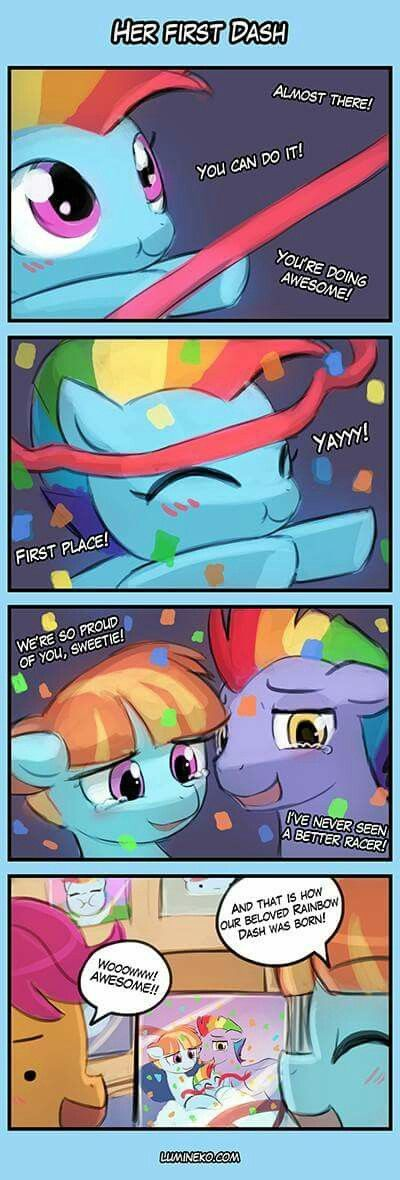 She is the first!  | Rainbow Dash, Scootaloo, Rainbow Dash's Parents