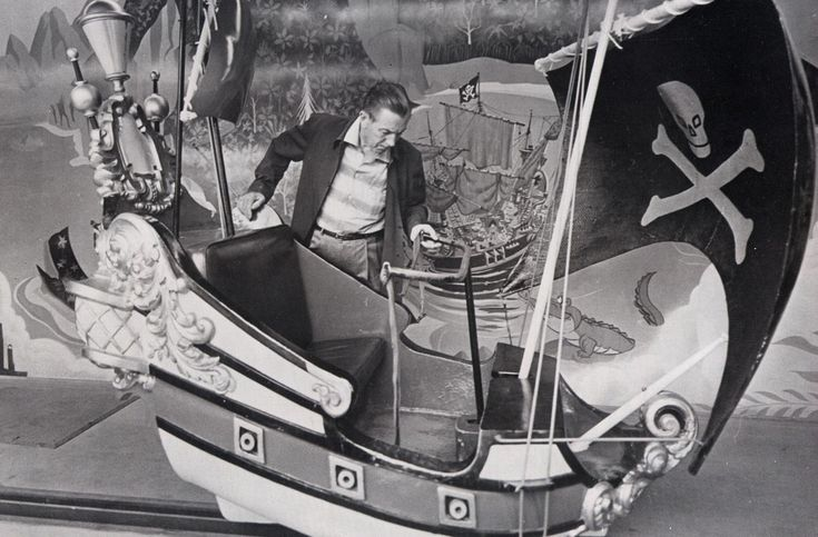 Walt Disney checking out a flying pirate ship (@Peter Thomas Pan's Flight…