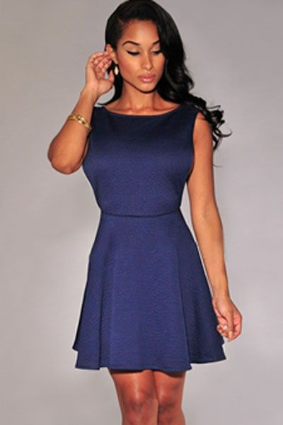 Navy-blue Textured Open Sides Skater Dress
