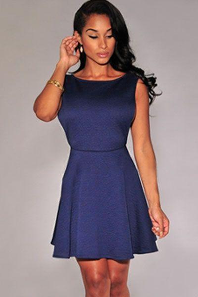 Navy-blue Textured Open Sides Skater Dress