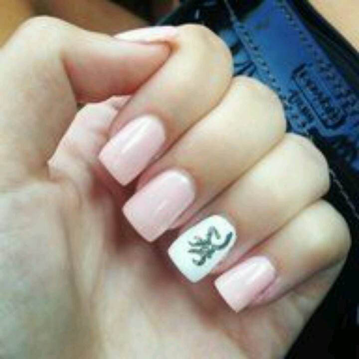 Soft pink nude nail white base on ring finger with green browning symbol love it fashion Fashion style and nails facebook