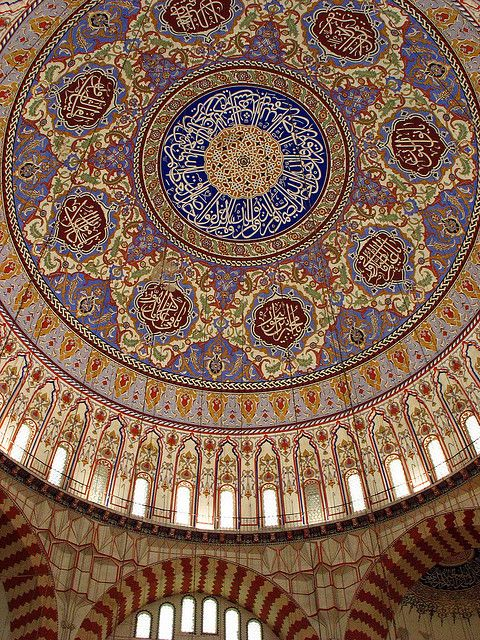 Looking up at the main dome inside the Selimiye Mosque, considered the finest work of the great Ottoman architect Mimar Sultan, in Edirne.