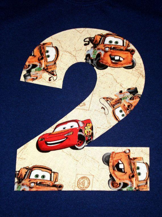 Tow Mater Lightning McQueen Cars Disney Pixar Applique Monogram Custom Letter or Number Boys Birthday T-Shirt Kids/Childrens/Toddler Clothes via Etsy