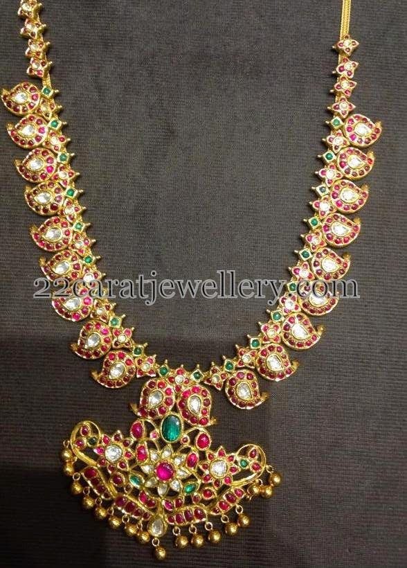 Jewellery Designs: Mango Necklace Net Weight 135gms