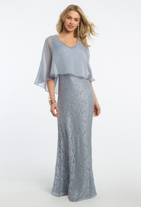 What to wear for your daughter's day of a lifetime? This lovely mother of the bride dress! With its v-neck beaded trim neckline, mermaid silhouette, and chiffon cape, this wedding guest dress is picture-perfect. Pair it with silver heels, a rhinestone ring, and a silver clutch.<br><br>•V-neck beaded trim neckline<br>•Mermaid silhouette<br>•Chiffon cape<br>•Center back zipper