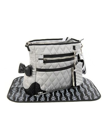 Take a look at this Caramellles Gray The Truffle Bow Diaper Bag by Caramellles on #zulily today!