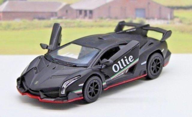 Personalised Name Gift Matte Black Lamborghini Veneno Toy Car