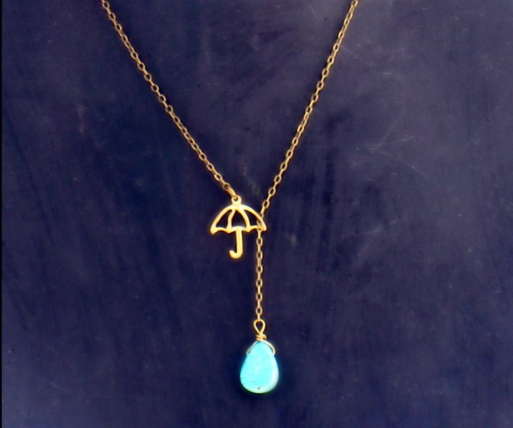 umbrella necklace with turquoise drop turquoise by alapopjewelry, $22.00