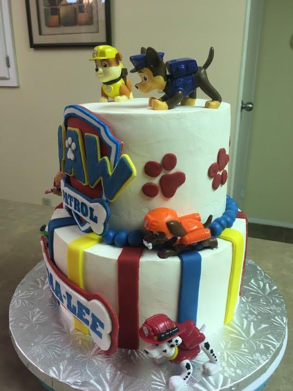 Side view of Paw Patrol cake