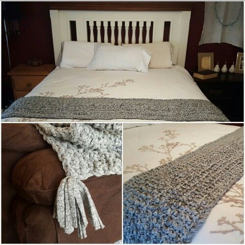 Handmade chunky thick grey bed runner with tassel ends. Draps over and down sides of a queen size bed beautifully. Perfect Mothers Day gift at only $85!! (+p/h)  Please send enquires via direct message to my inbox. CUSTOM COLOURS AND SIZES ALSO AVAILABLE AT NO EXTRA COST 😘  Im planning to do a huge floor rug in neutral tones in near future also