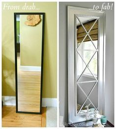 upcycle a cheap door mirror, design d cor, Turn an inexpensive run of the mill door mirror into a glamorous wall mirror I made two of these mirrors and hung them above the nightstands as part of our master bedroom makeover