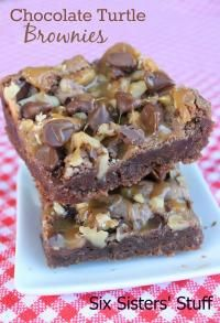 Six Sisters Chocolate Turtle Brownies Recipe. These are loaded with chocolate, caramel, and pecans!