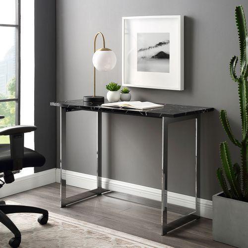 Elegant Glam Black Faux Marble & Chrome Writing Desk
