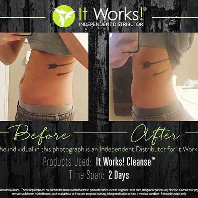 Before and After of the cleanse! Two day time span..amazing! #wrapwithjenfrancis Wrapwithjenfrancis.myitworks.com