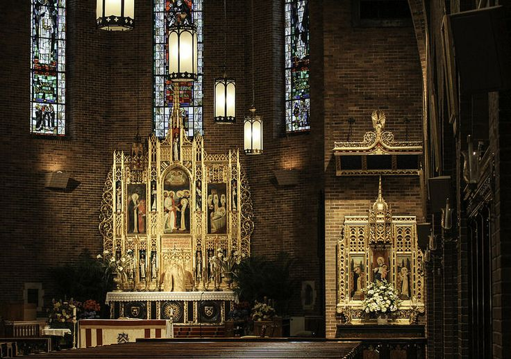 Altars in St Catherine's NYC - View of the Rosary Altar and the High Altar in the Dominican church of St Catherine of Siena in New York City. Fr Lawrence Lew, O.P.