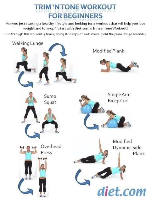 Trim 'n Tone Workout for Beginners. This would be good for days I need a quick workout