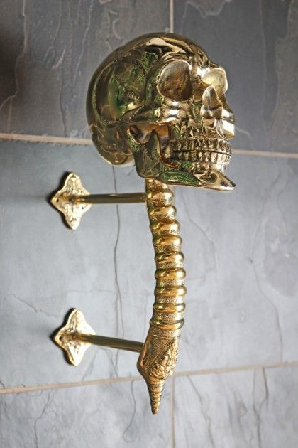 Gold Skull Hat Stand / Door Handle - View All - Home Accessories