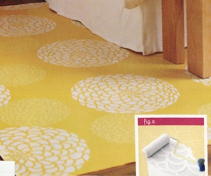 i could paint canvas drop cloths similarly to get a diy rug to help divide room