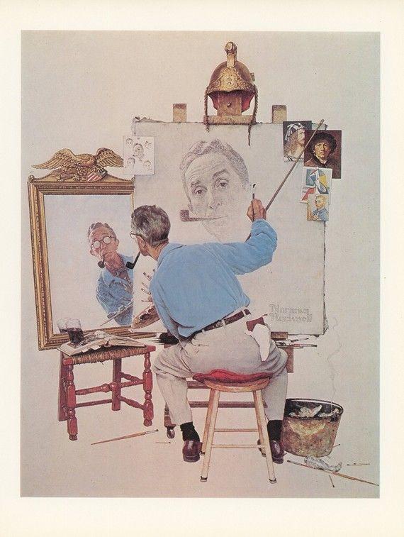 #Norman Rockwell   Self portrait Triptych