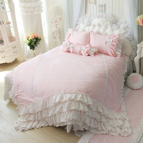 Amazon.com - DIAIDI, Flax Linen Bedding Set, Pink Blue Bedding Sets, Princess Lace Ruffle Duvet Covers, Twin Queen King Size, 4Pcs (QUEEN, PINK) - Bed Skirts