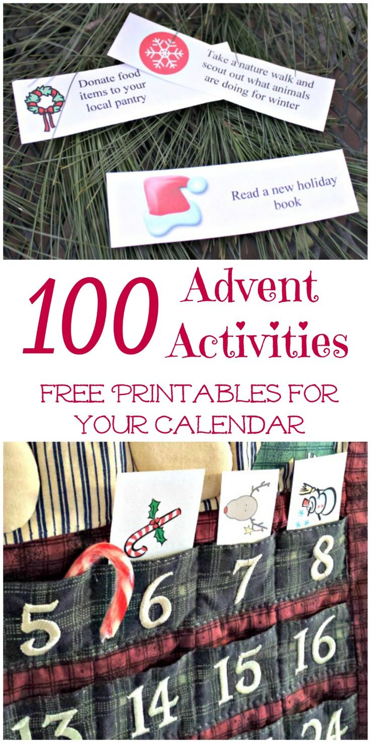 {FREE printable!} More than 100 Advent Calendar activities! Great ideas for movies, family outings, crafts, nature activities & more.