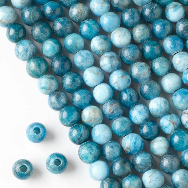 """Large Hole Apatite Grade """"A"""" 8mm Round Beads with a 2.5mm Drilled Hole - 8 inch strand"""
