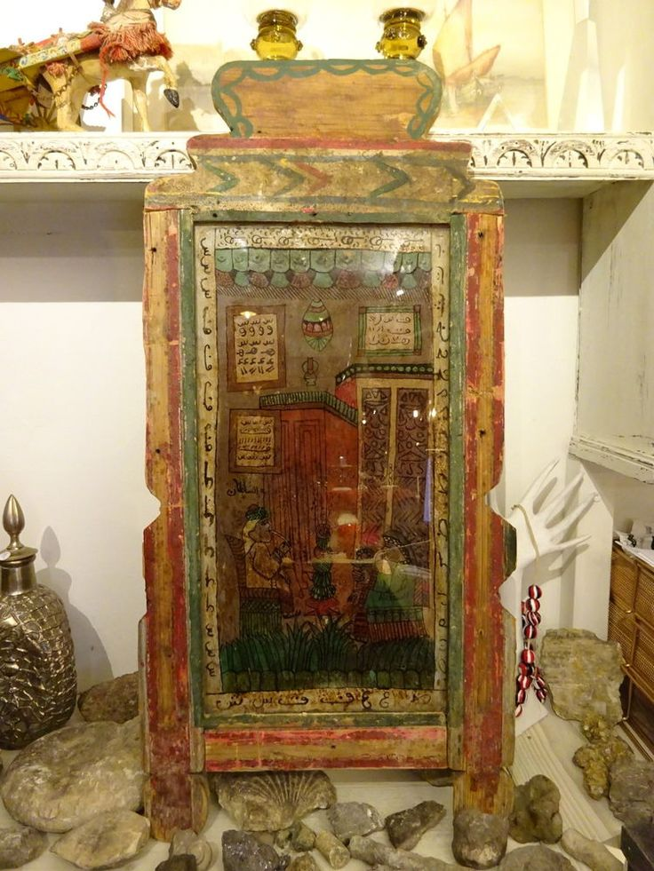 Vintage Folk Art Reverse Art Painting on Recycled Wooden Frame India
