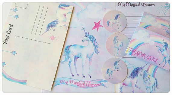 Rainbow & Unicorn Letter writing set Memo Pad,Unicorn Stickers,Cute Card Notelet in Business, Stationery, Paper Products | eBay!