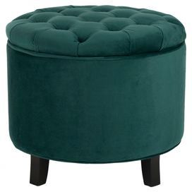 """Tufted storage ottoman with teal cotton upholstery and birch wood legs.  Product: Storage ottomanConstruction Material: Birch wood and cottonColor: TealFeatures: Button-tuftedDimensions: 19.6"""" H x 20.8"""" Diameter"""