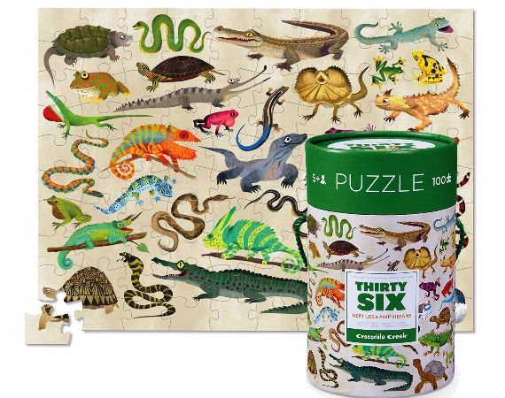 Learn about dinosaurs, animals, butterflies, reptiles and all the creatures that inhabit the world with Crocodile Creek 100 piece floor puzzles. Choose from Reptiles & Amphibians, Dinosaurs, Butterflies or Ocean Animals. With four designs to choose from each themed puzzle features 36 different animals.  All Croc Creek puzzles are FSC Certified – this means that the product has been made while still caring for and keeping our forests full of life. A must for zoos, aquariums and museums! 5…
