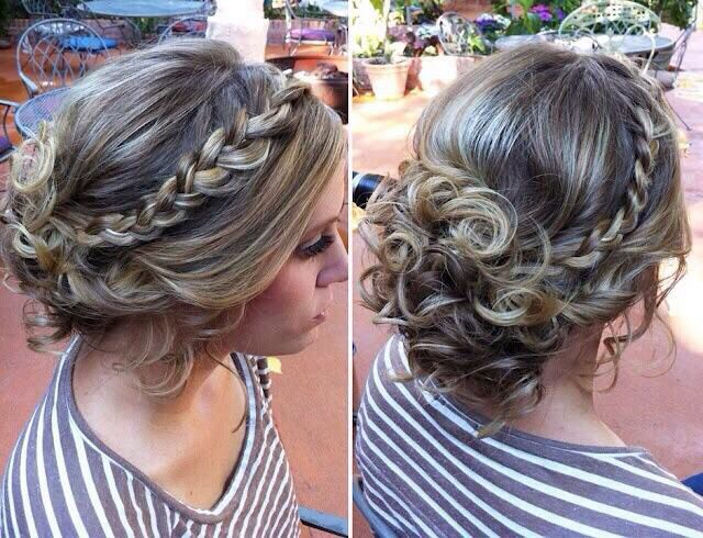 Pretty curled updo with braid detail