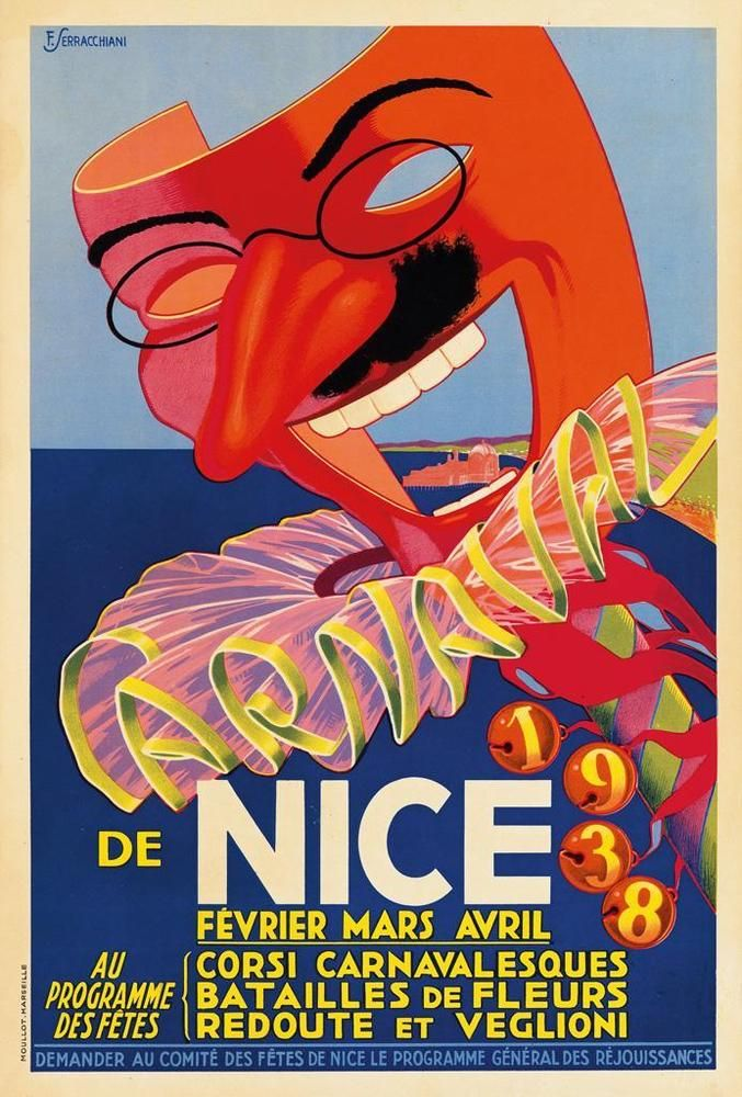FRANÇOIS SERRACCHIANI (DATES UNKNOWN). CARNAVAL DE NICE. 1938. 23x15 ... Lot 335