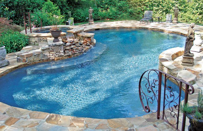 Backyard oasis! Love the decorative rail. #pools #outdoorliving