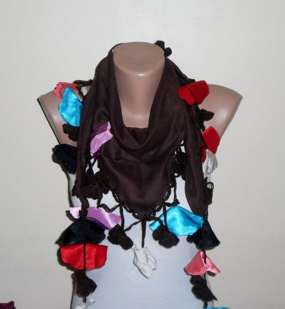 brown scarf multicolor cotton scarf oya scarf women by DamlaScarf