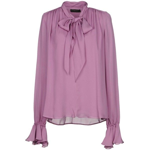 Plein Sud Blouse (111.860 HUF) ❤ liked on Polyvore featuring tops, blouses, light purple, long sleeve tops, light purple top, purple blouse, lavender blouse and pussy bow blouses