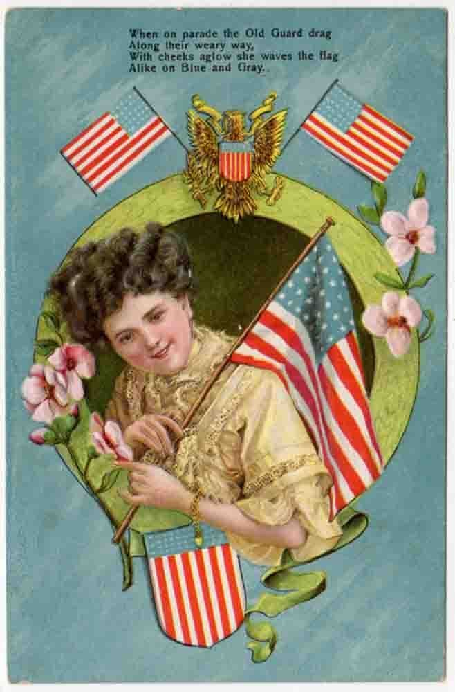 Patriotic postcard of a beautiful patriotic woman with American flags