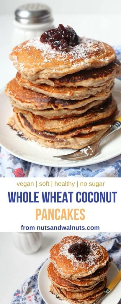 Vegan Whole Wheat Coconut Pancakes are soft and fluffy, rich and delicious with coconut cream and cinnamon, a little bit nutty with whole wheat flour and desiccated coconut, make perfectly easy and healthy breakfast or snack!