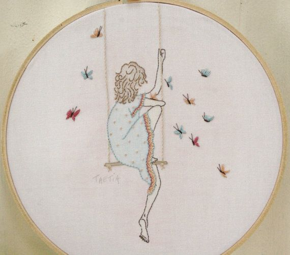 NEW! KIT Hand Embroidery kit--Embroidered Girl Hoop Art--Embroidery Kit for Hoop Art