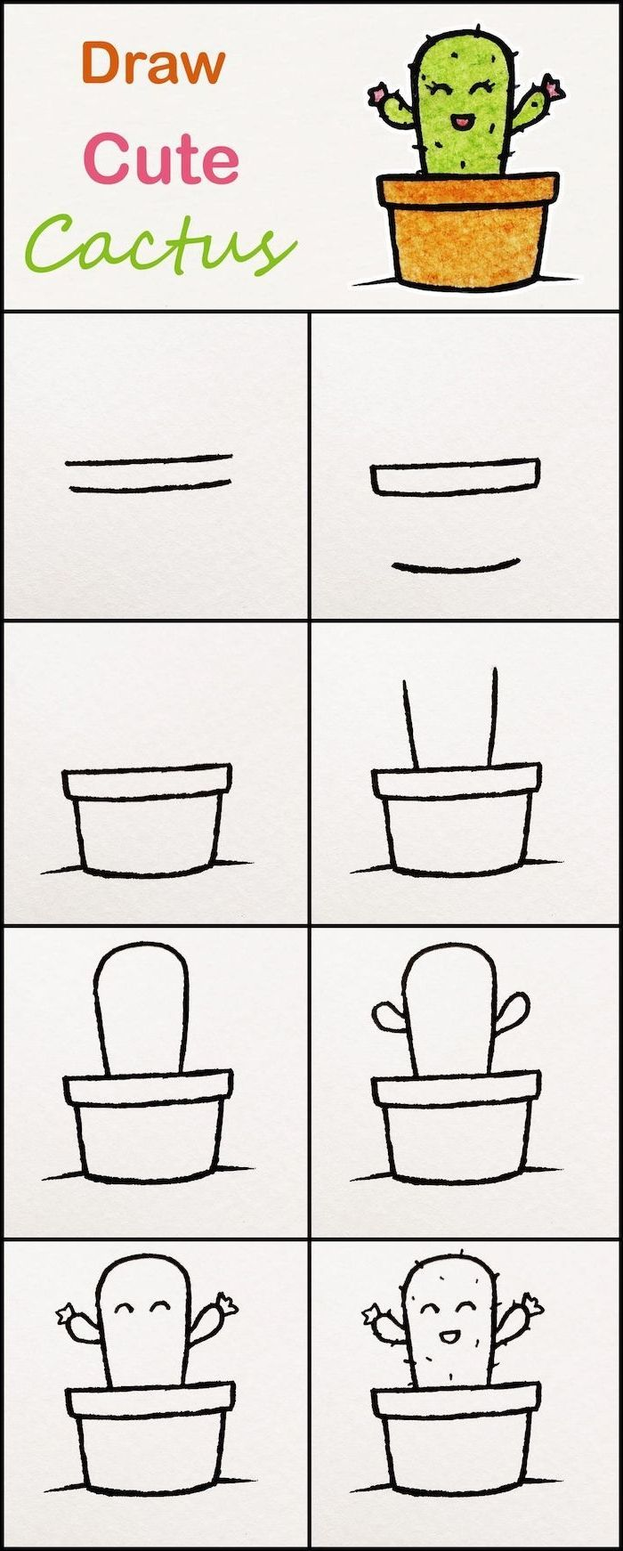Tuto Dessin Facile A Faire Par Etape Cactus En Pot De Fleur Idee Comment Dessiner Des Kawaii Fac In 2020 Easy Doodles Drawings Drawing Tutorial Easy Cute Easy Drawings